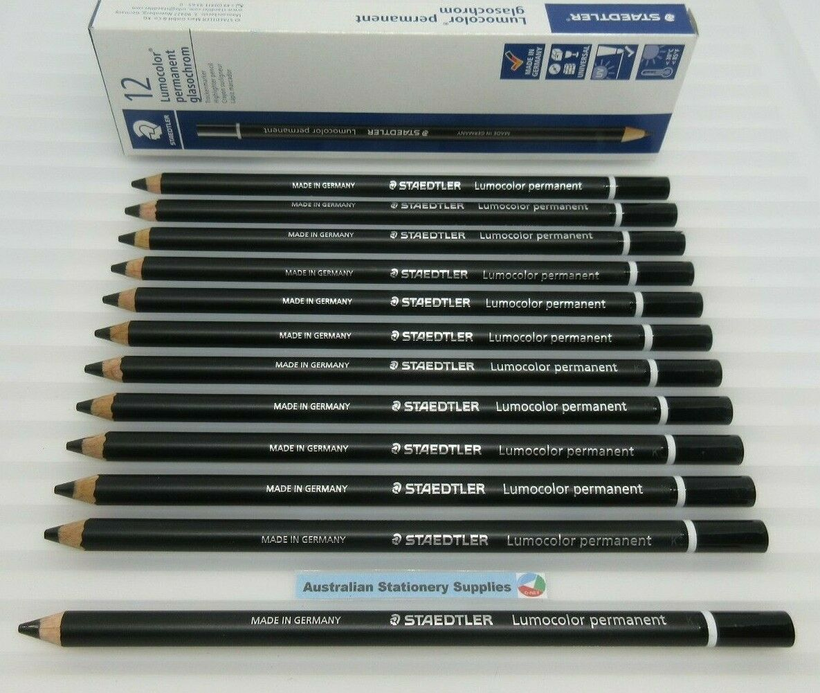 12 x BLACK Staedtler Glasochrom Chinagraph Lumo Pencil 108209 free post