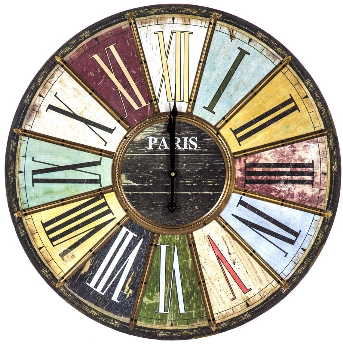 Large vintage retro multi colour brass roman numerals paris wall clock new 60cm - Large roman numeral wall clocks ...
