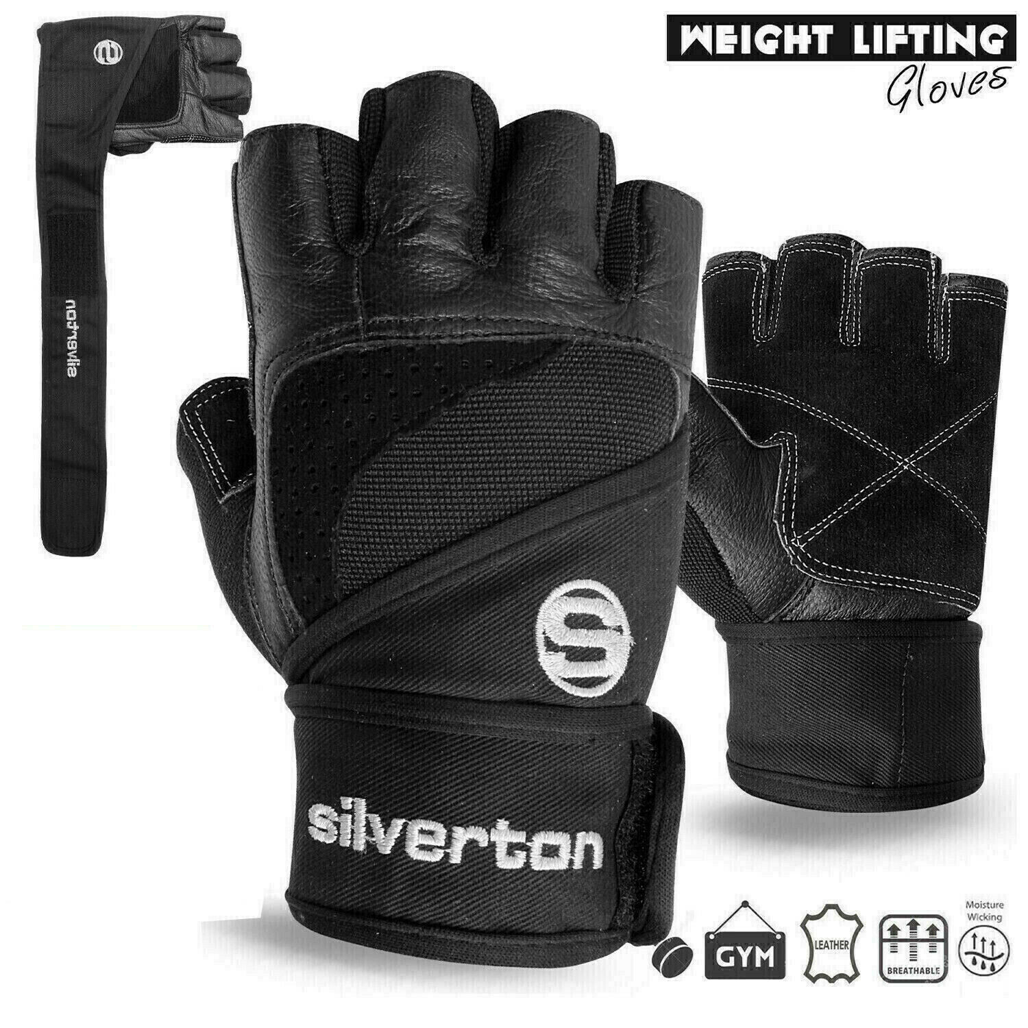 Weight Lifting Gloves Leather Fitness Gym Training Workout: WEIGHT LIFTING GLOVES Gym Fitness Workout Long Closure