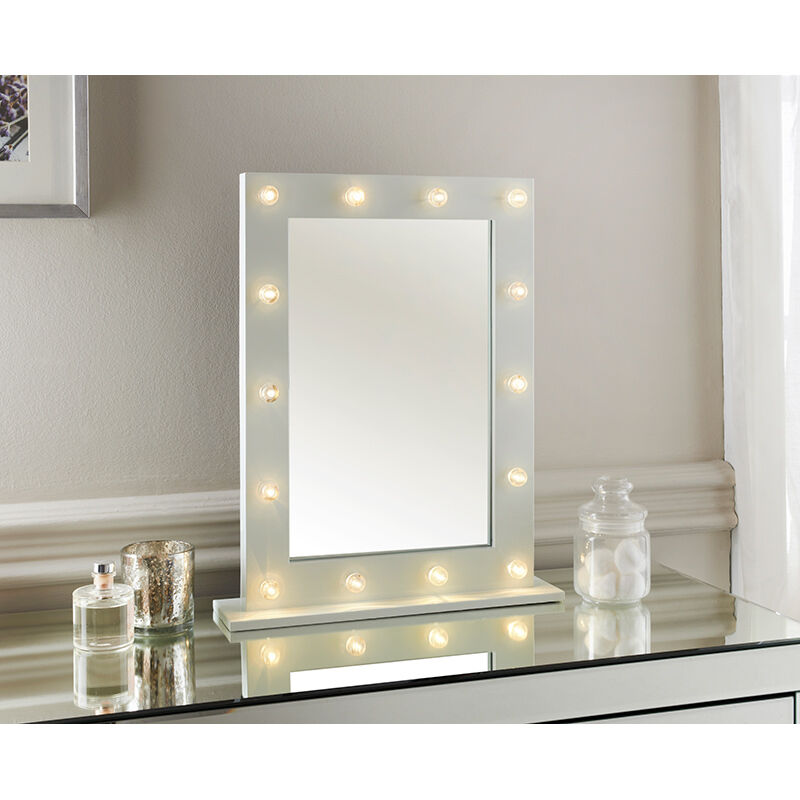 New hollywood led light detailed dressing table mirror 40 for Miroir 40 x 50