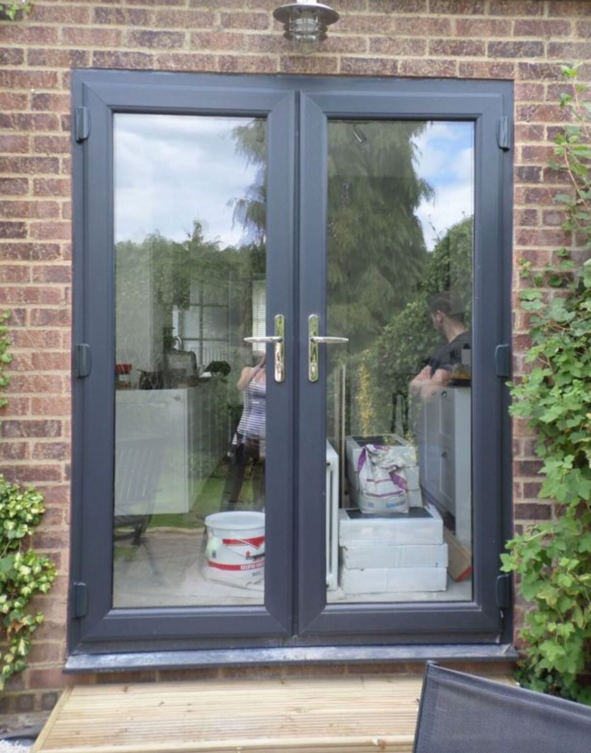 Grey upvc french door new 1190mm x 2090mm 555 for Upvc french doors 1790 x 2090mm