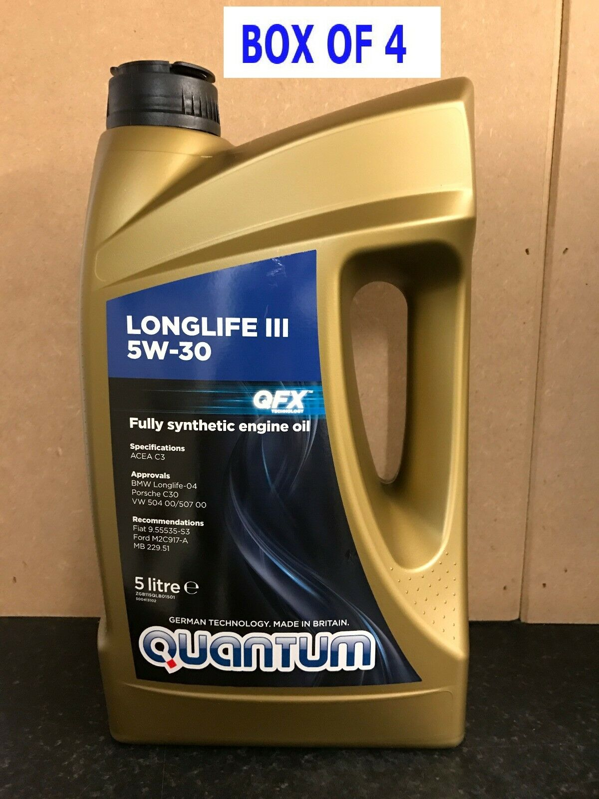 4 x quantum longlife 5w 30 fully synthetic engine oil 20. Black Bedroom Furniture Sets. Home Design Ideas