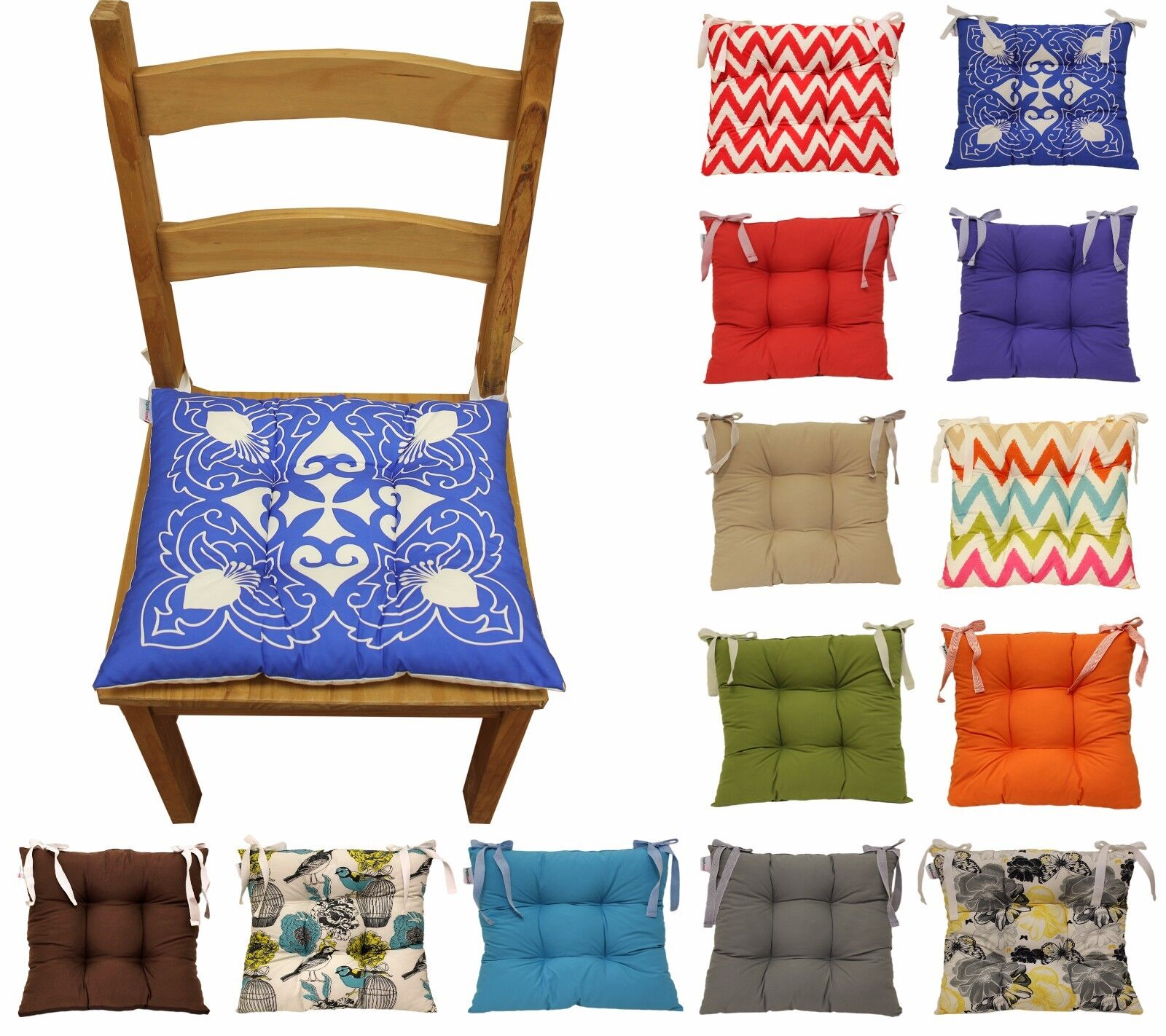 Colourful Seat Pad Dining Room Garden Kitchen Chair Cushions Tie On Many Colours 1 Of 12FREE Shipping