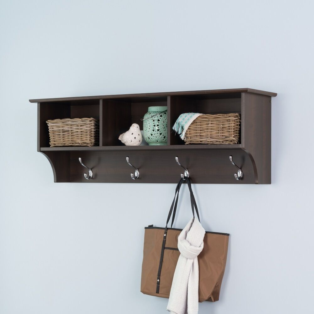 Wall Mount Coat Hat Rack Wood Storage Shelf Hooks Cubbies Entryway Hall Espresso 1 Of 1only Available