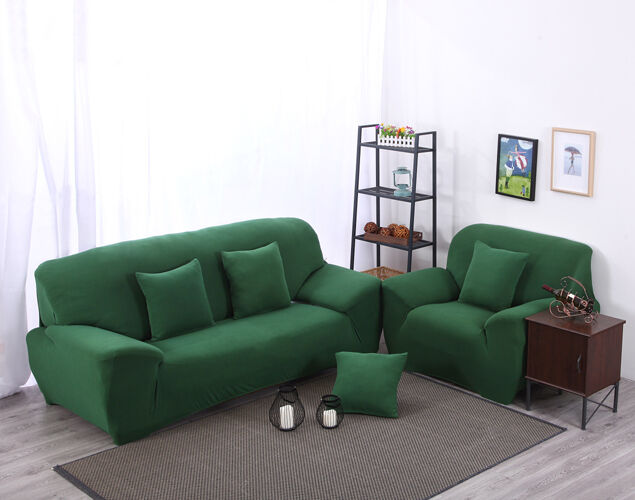 Green spandex stretch fitted sofa covers case oaul for Green furniture covers