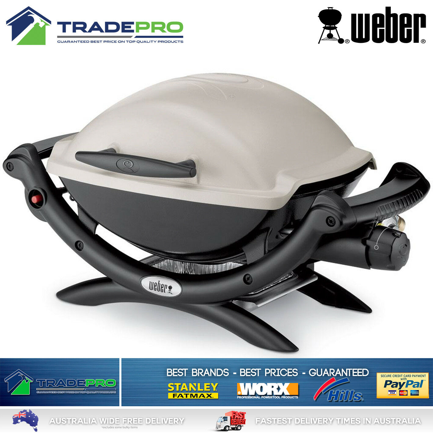 bbq weber q1000 portable gas barbecue grill stainless. Black Bedroom Furniture Sets. Home Design Ideas