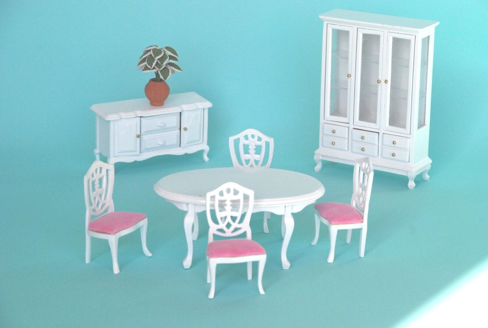 Wooden White Pink Dinning Room Doll House Furniture Set Aud Picclick Au