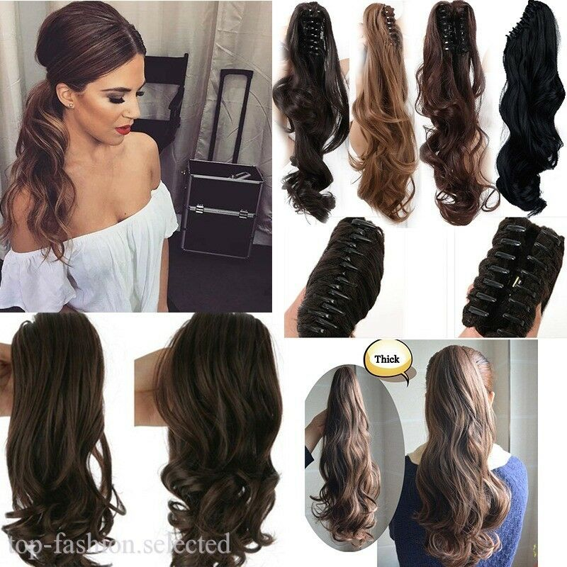 Uk Clip In Ponytail Soft Hair Extensions Claw On Pony Tail Wavy