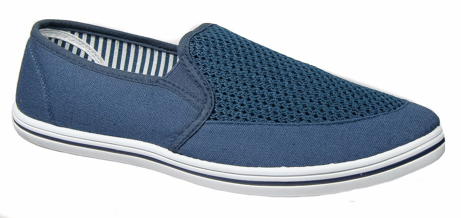 mens yachting shoes navy blue casual slip on dek sizes 6