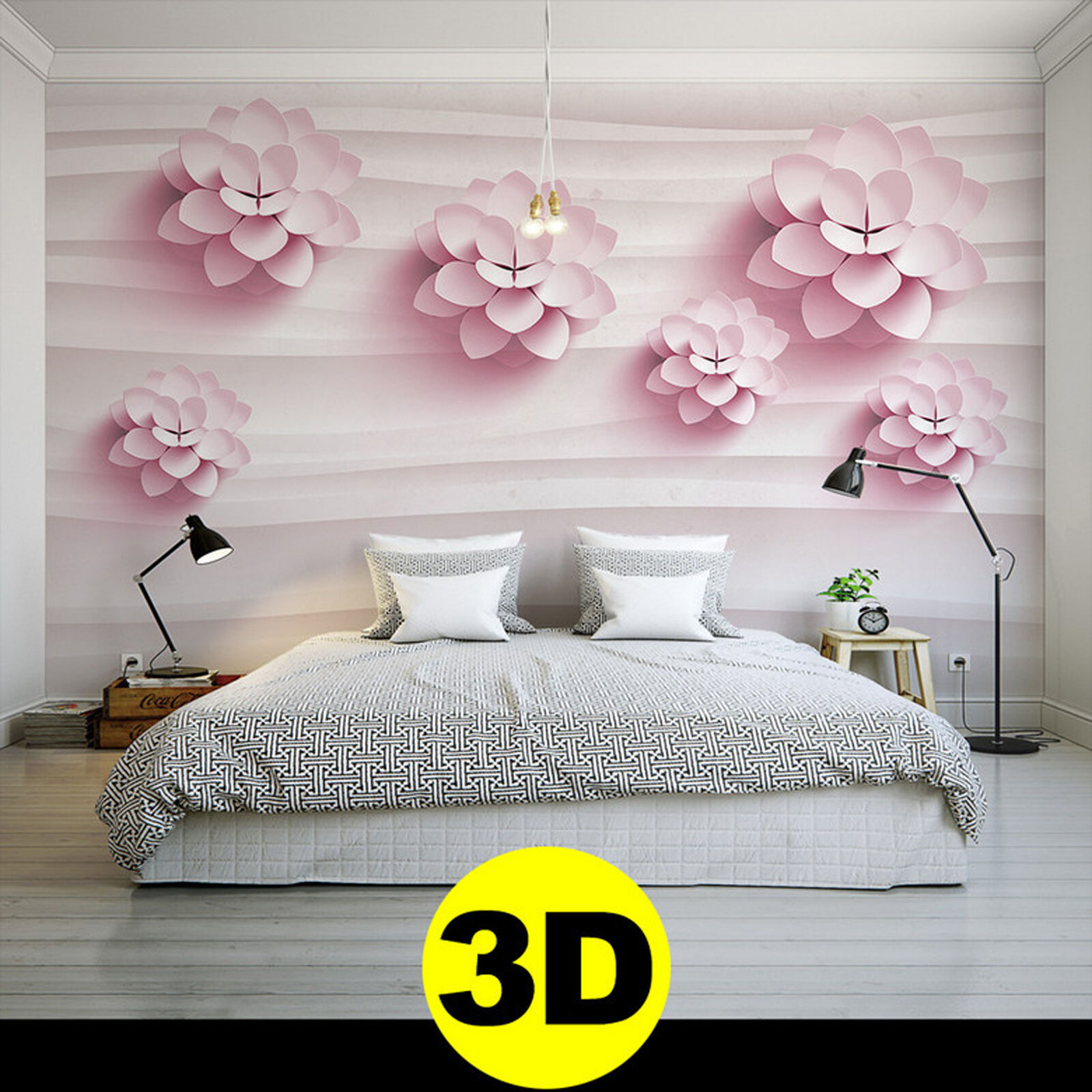 vlies fototapeten wandbilder 3d blume vlies tapeten 1145. Black Bedroom Furniture Sets. Home Design Ideas