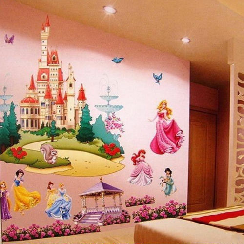 Seven princess castle 3d wall stickers large mural vinyl for Castle wall mural sticker