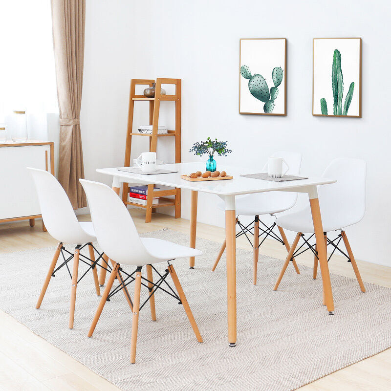 White plastic lounge 4 pcs dining chairs wood legs dining for White plastic dining chair
