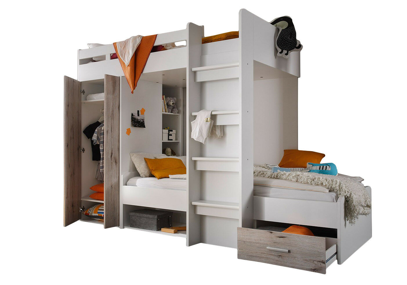 etagenbett inkl kleiderschrank schubkasten regale hochbett doppelbett stockbett eur 449 90. Black Bedroom Furniture Sets. Home Design Ideas