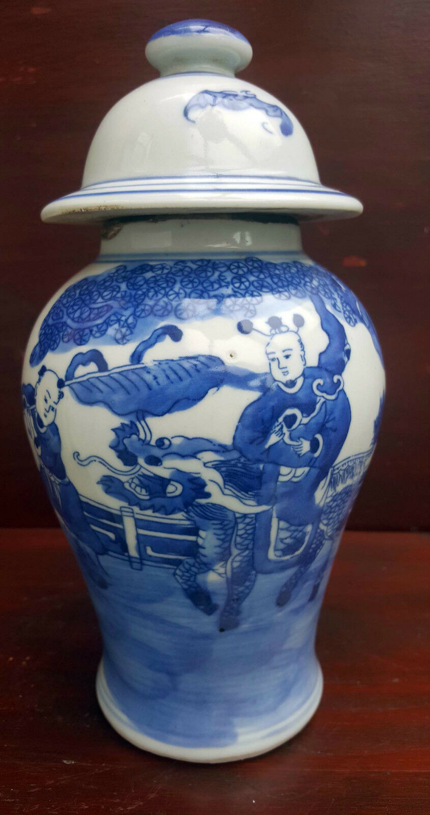 chinese antique blue and white vase with lid marked with kangxi mark picclick uk. Black Bedroom Furniture Sets. Home Design Ideas