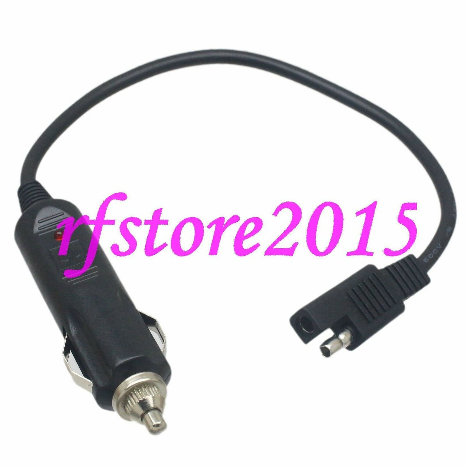 Sae 2 Pole Flat Plug To Cigarette Lighter Socket 18awg 1ft Wire For Wiring A 1 Of 4free Shipping
