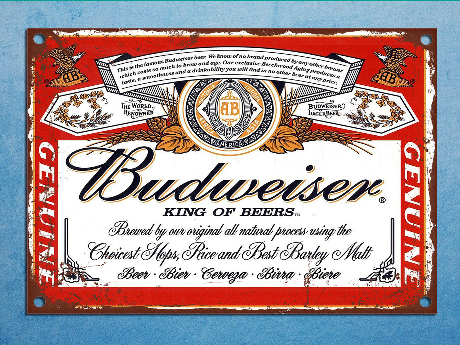 Metal plaque vintage retro style budweiser beer decorative for Plaque murale decorative metal