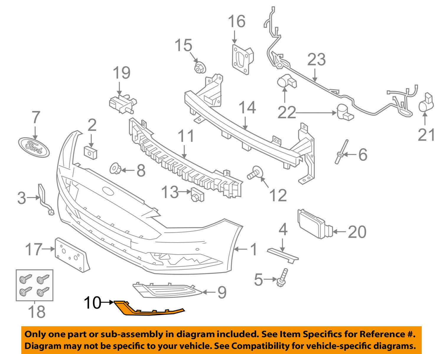 Ford Trim Diagrams Wiring Schematic Diagram 1997 Lincoln Mark 8 Fuse Box Oem 17 18 Fusion Front Bumper Grille Grill Molding Left 2008 Ranger