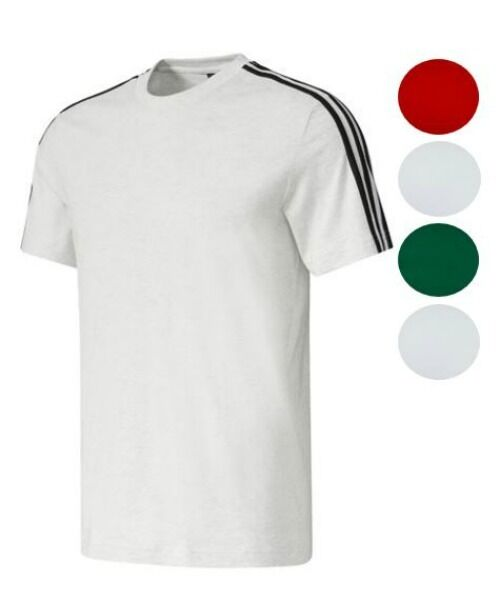 adidas Men's 3 Stripe Short Sleeve Tee Athletic Regular Fit Cotton T-Shirt