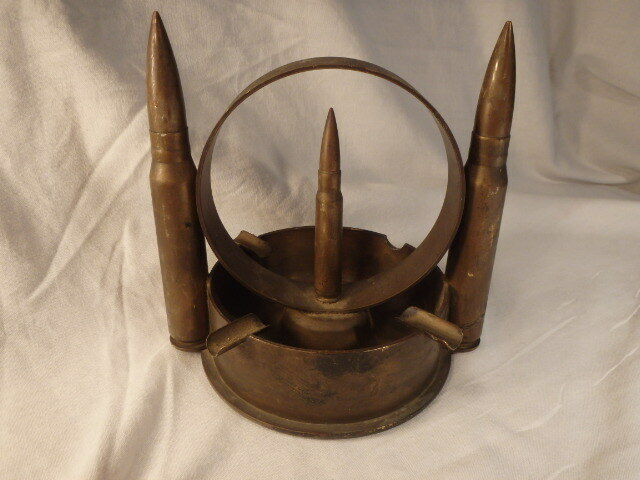 Vintage WW2/WWII Brass Casing Trench Art Ashtray - ONE OF A KIND!