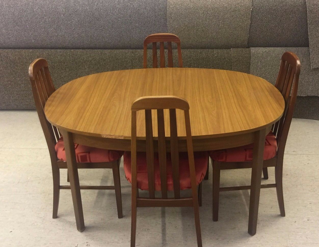 A vintage oval teak wood extending kitchen diner table 4 padded chairs picclick uk - Oval kitchen table sets ...