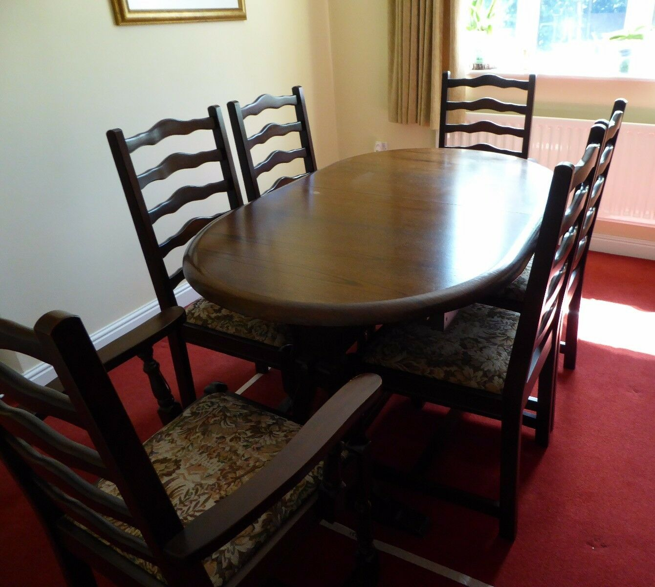 Old Charm Style Extending Dining Table And Six Ladder Back Chairs Dark Oak
