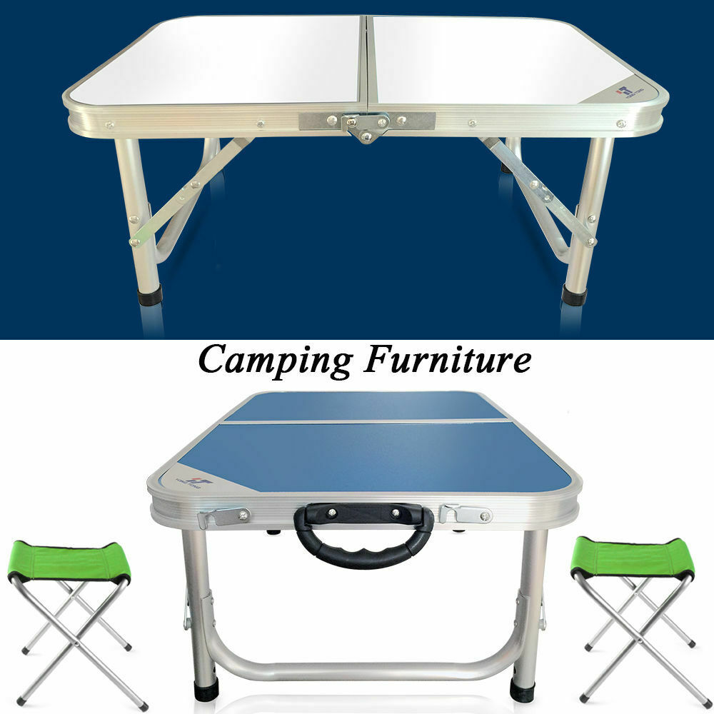 Portable Folding Table Chairs Set Adjule Camping Foldable Desk 2pcs 1 Of 12free
