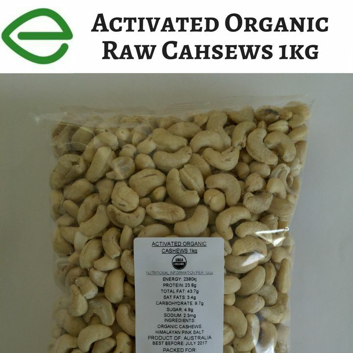 Activated Certified Organic Raw Cashews 1kg  FINAL SALE BB: 07/2017