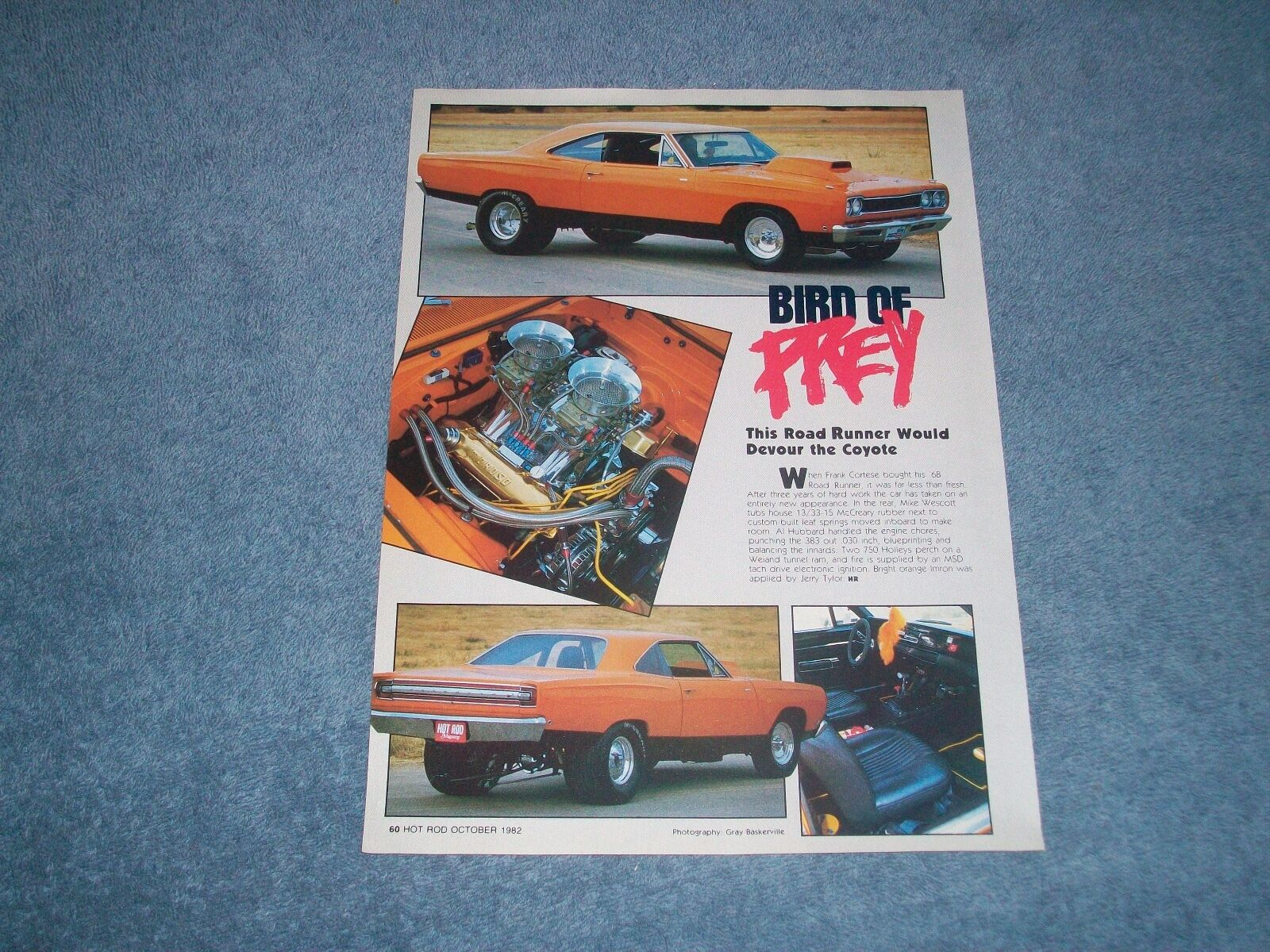 1968 Plymouth Road Runner Vintage Pro Street Article Bird Of Prey 1941 1 1only Available