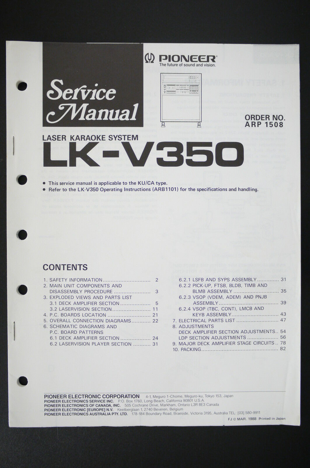 Pioneer Lk V350 Laser Karaoke System Service Manual Wiring Diagram Japan 1 Of 1only Available