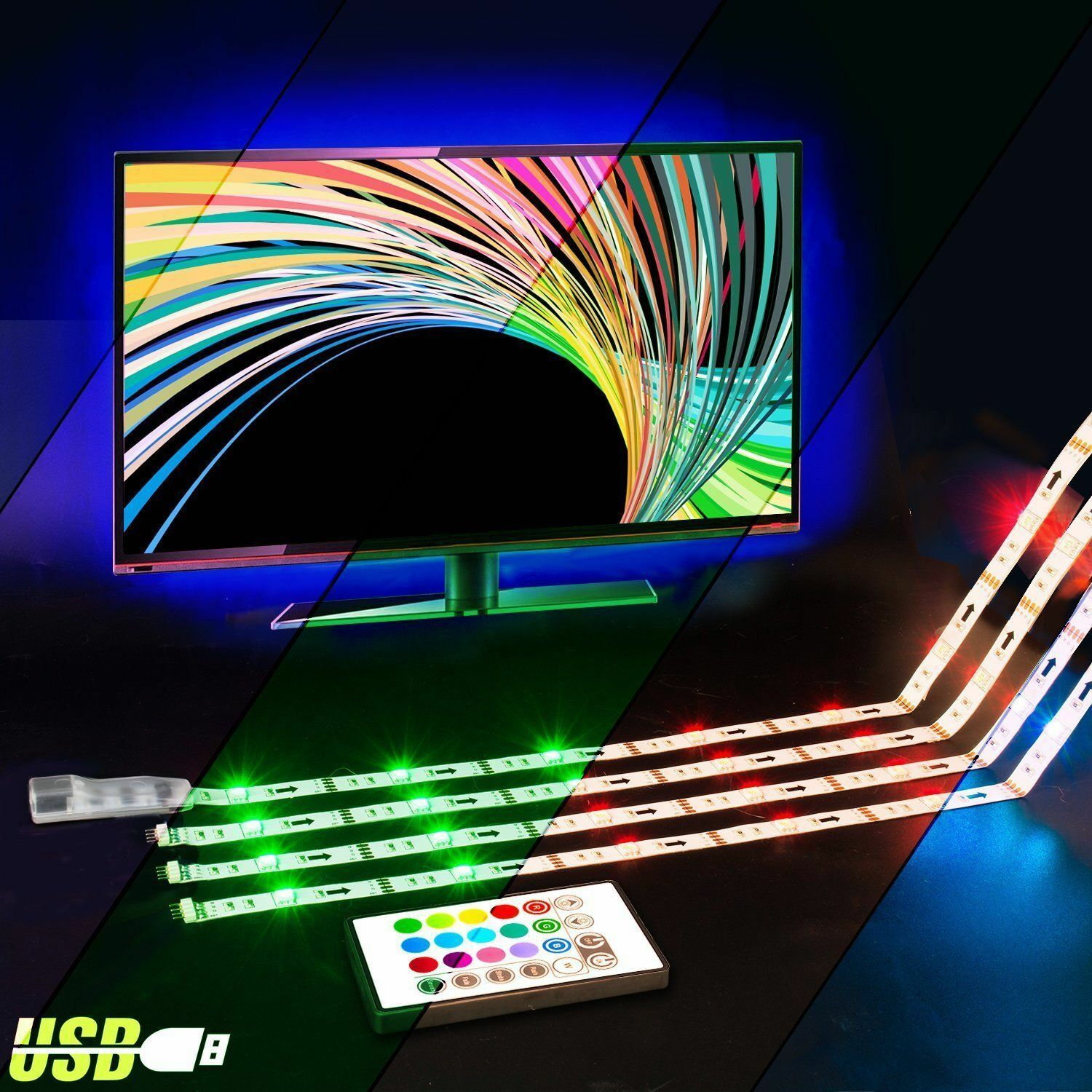 Led tv backlight powered usb led strip lights for 32 to 60 inch 1 of 11free shipping aloadofball Images