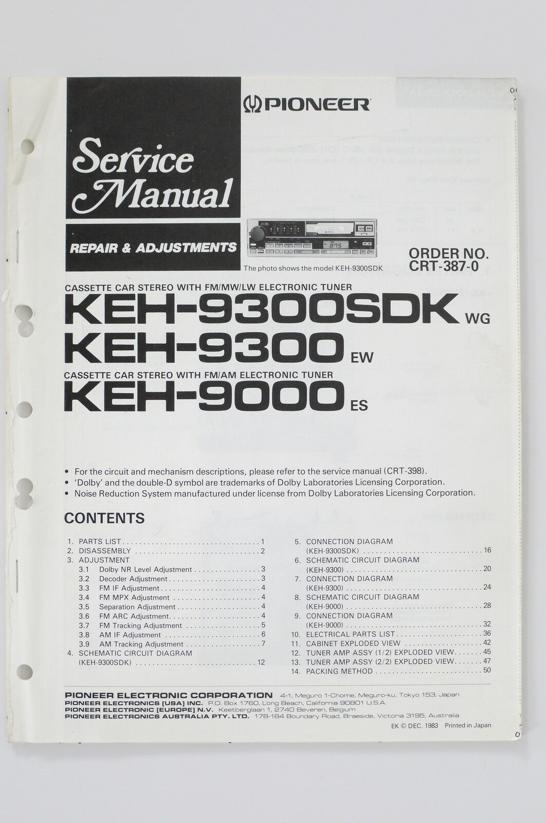 Pioneer Keh 9300sdk 9300 9000 Original Service Manual Guide Wiring Car Stereo Connector Diagram 1 Of 1only Available See More