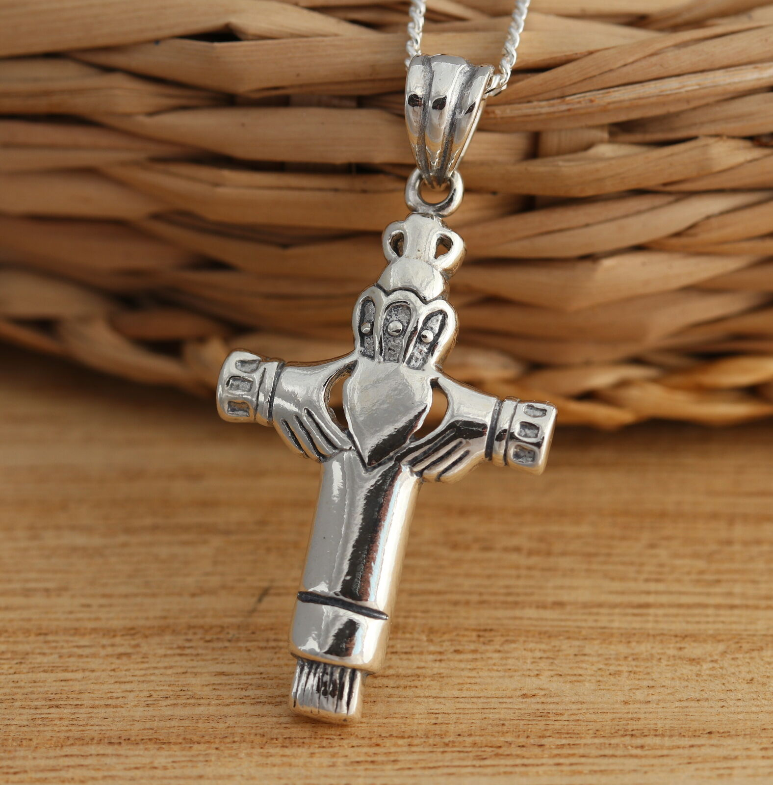 Solid 925 sterling silver celtic cross pendant with claddagh design solid 925 sterling silver celtic cross pendant with claddagh design jewellery 1 of 5only 0 available aloadofball Image collections