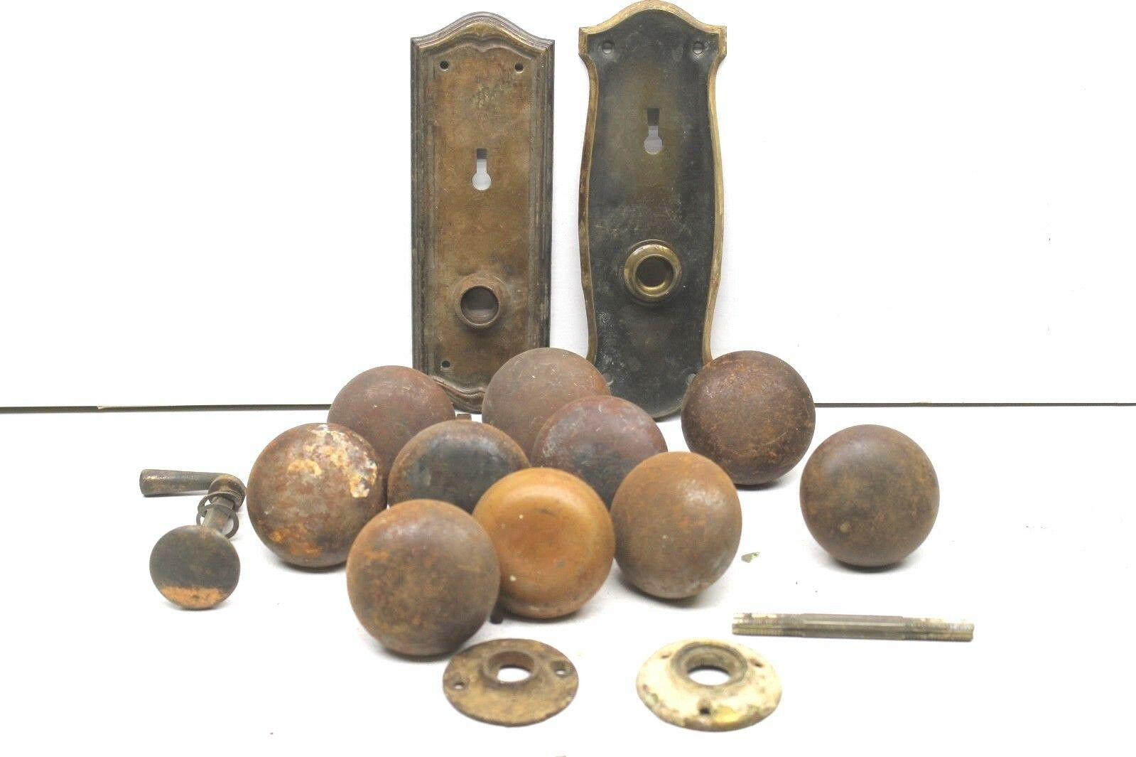 1 of 1Only 1 available ... - ANTIQUE DOOR KNOBS+HARDWARE Metal+Brass+Plates Odd Parts Restoration
