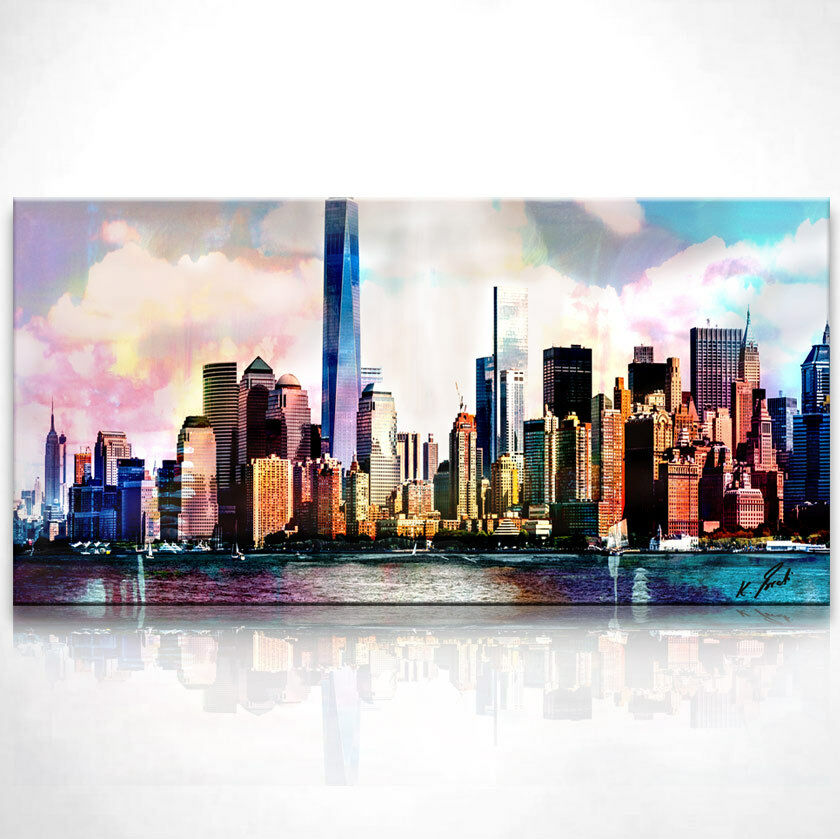 new york skyline bild leinwand abstrakt kunst bilder wandbild kunstdruck d0003 eur 49 95. Black Bedroom Furniture Sets. Home Design Ideas
