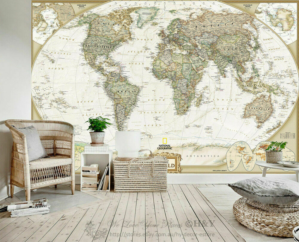 Geography world map removable wall mural paper vinyl sticker home 1 of 5free shipping gumiabroncs Gallery