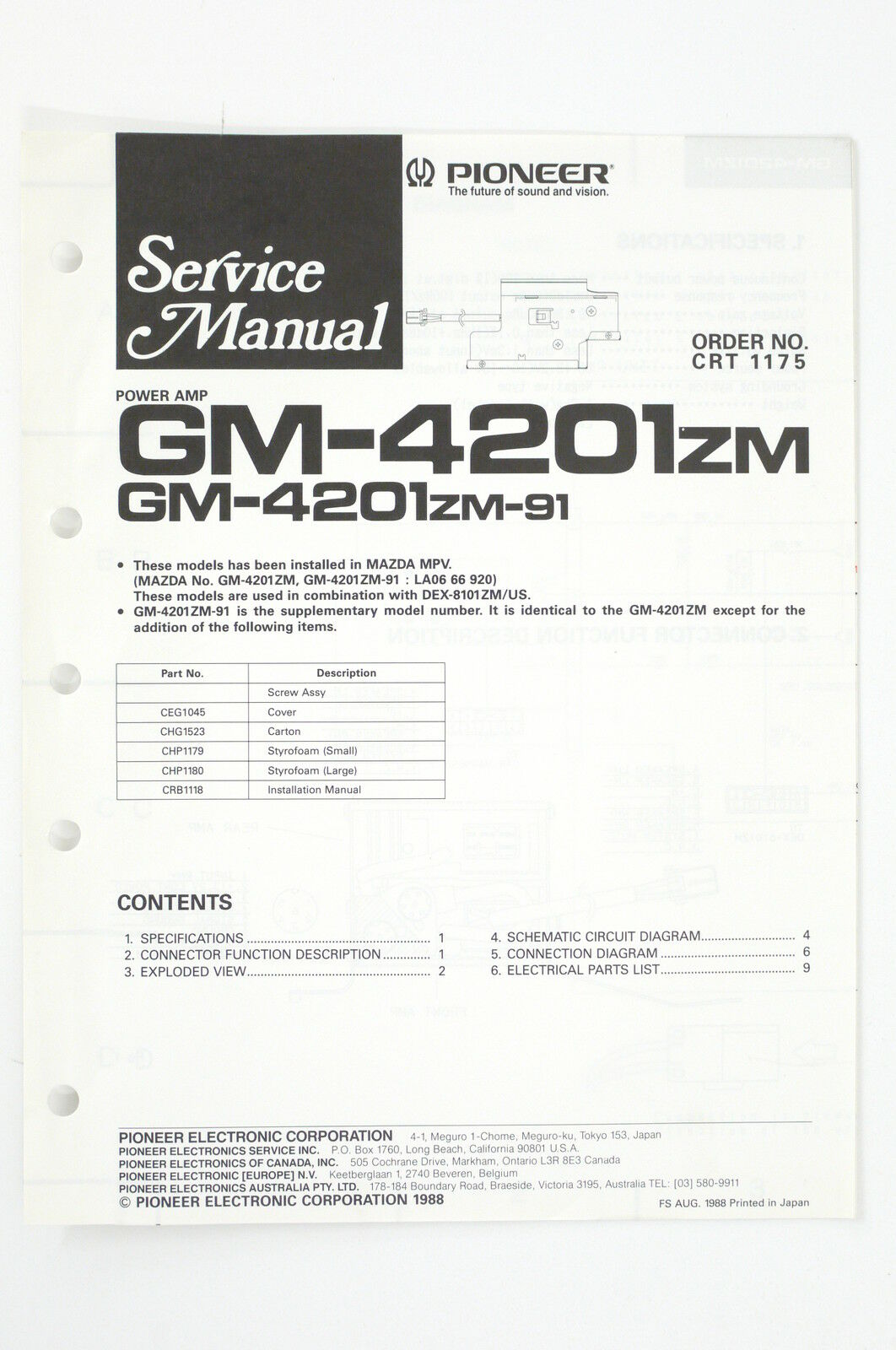 Pioneer gm-4201zm/4201zm-91 Power Amp Service Manual/WIRING DIAGRAM/ 1 of  1Only 1 available See More