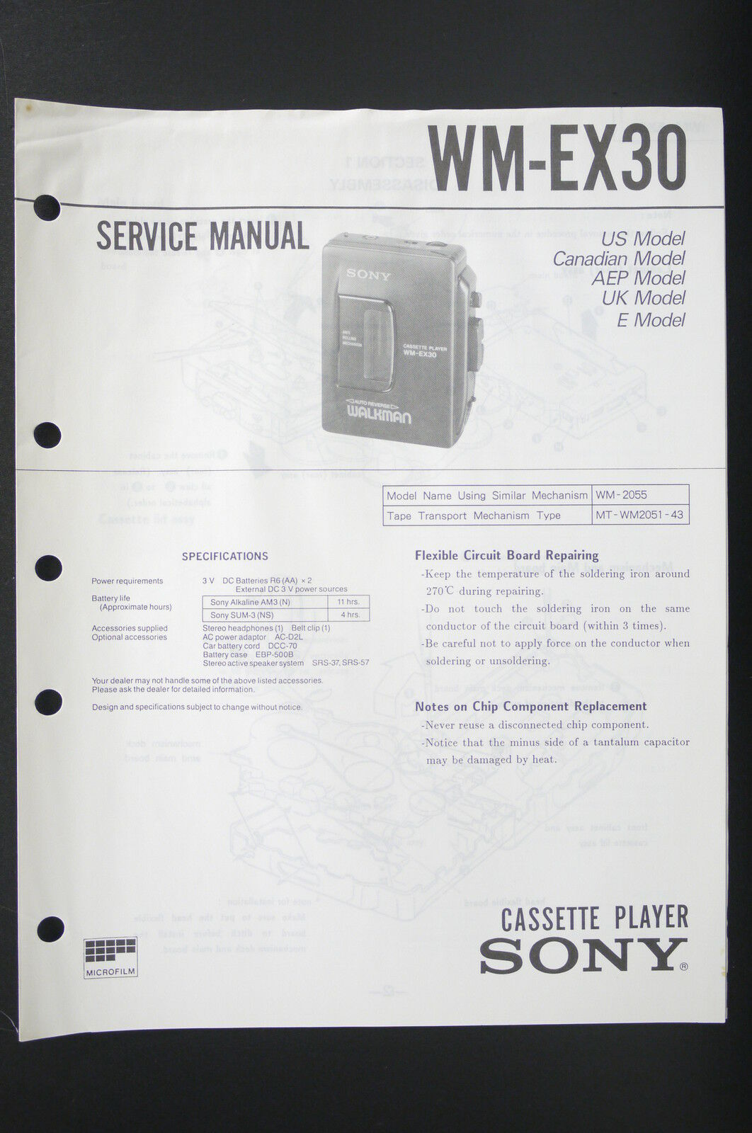 Sony Wm Ex30 Original Walkman Cassette Player Service Manual Wiring Soldering Iron Diagram 1 Of 1only Available