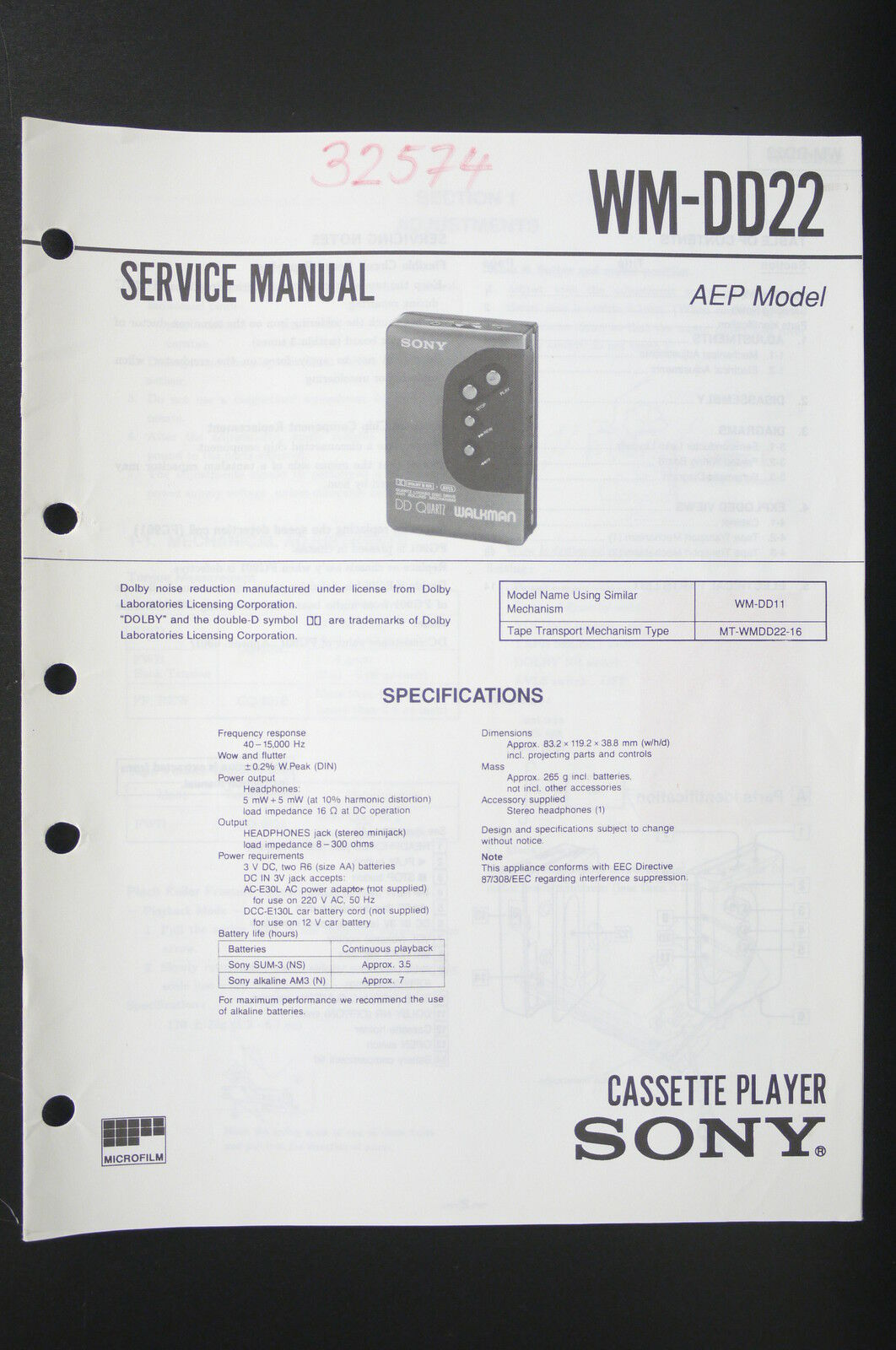 Sony Wm Dd22 Walkman Cassette Player Service Manual Wiring Diagram 1 Of 2only 2 Available