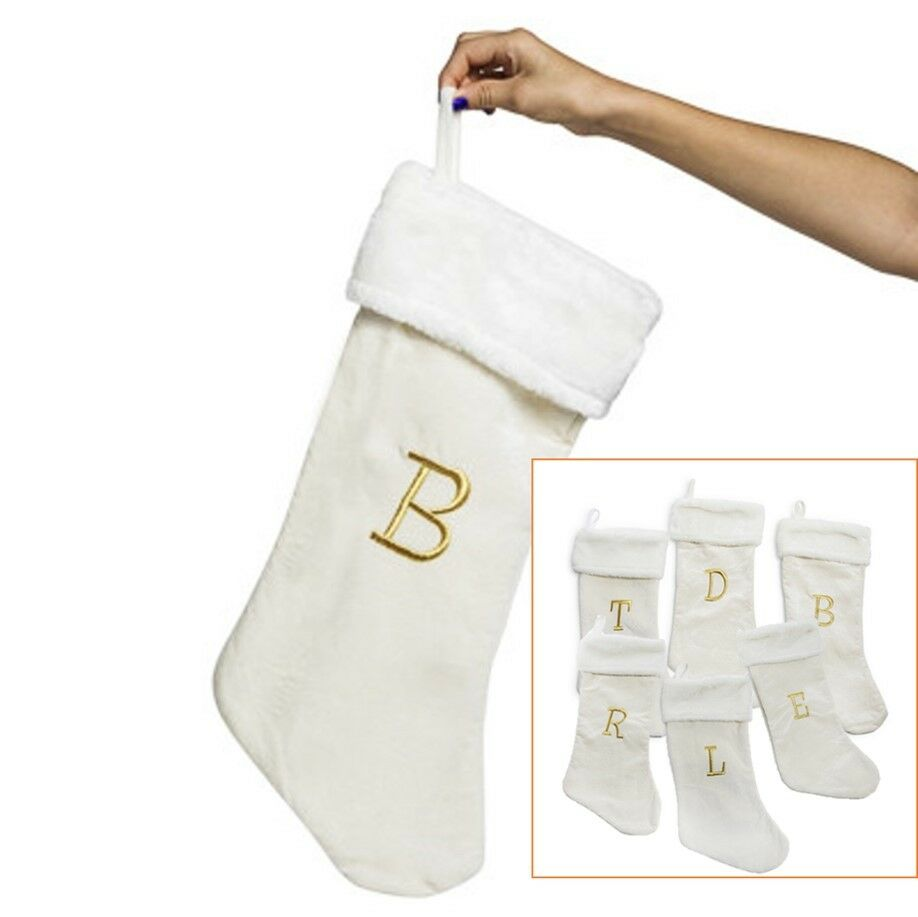 PERSONALIZED MONOGRAMMED LETTERS Christmas Stockings Plush Cream ...