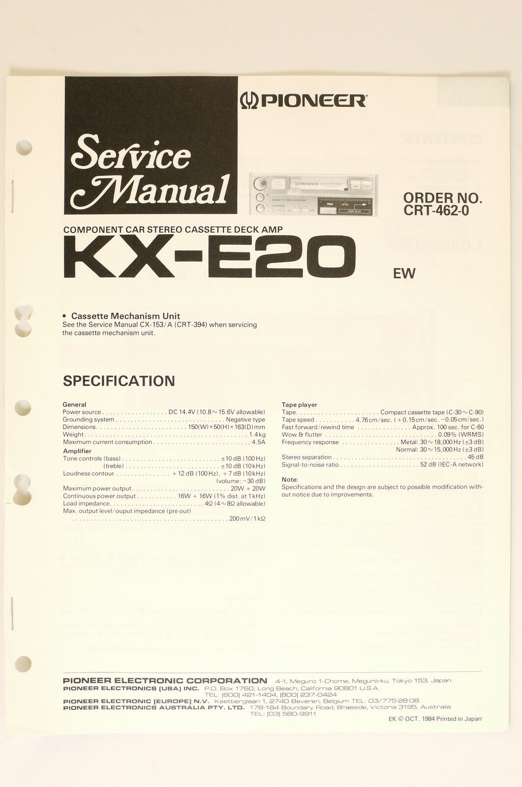 Pioneer Kx E20 Original Service Manual Guide Wiring Diagram O65 Ek 1 Of 1only Available