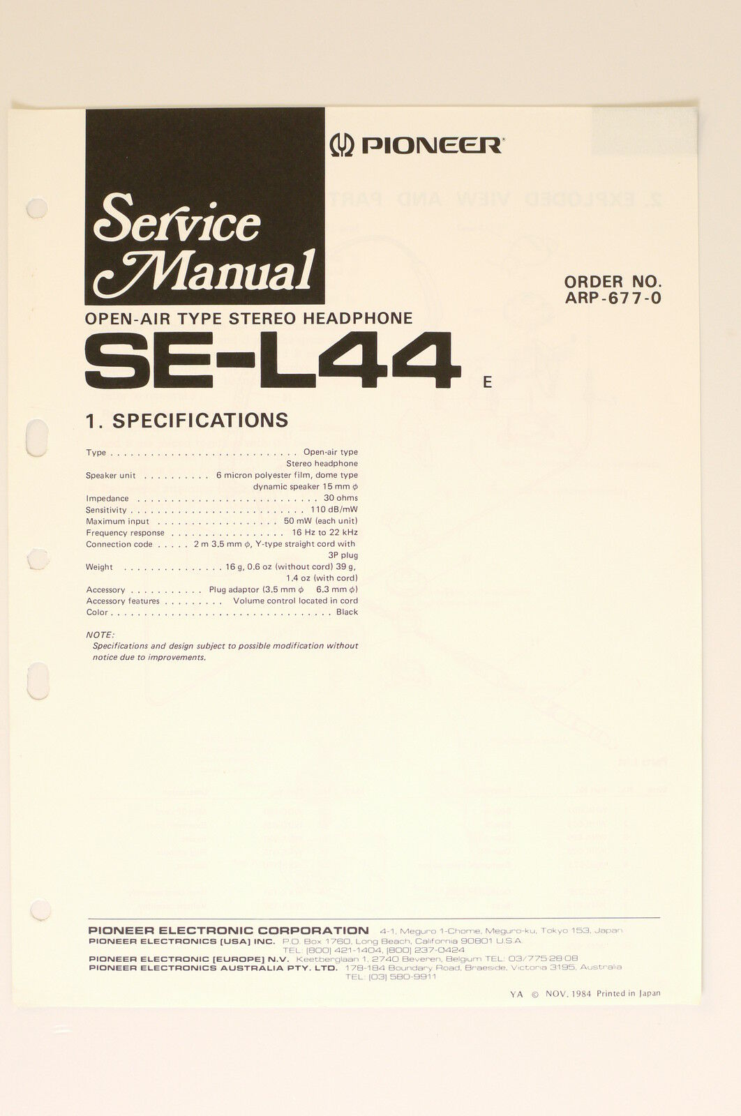 Pioneer Se L44 Stereo Headphones Original Service Manual Wiring Diagram For 1 Of 2only 2 Available
