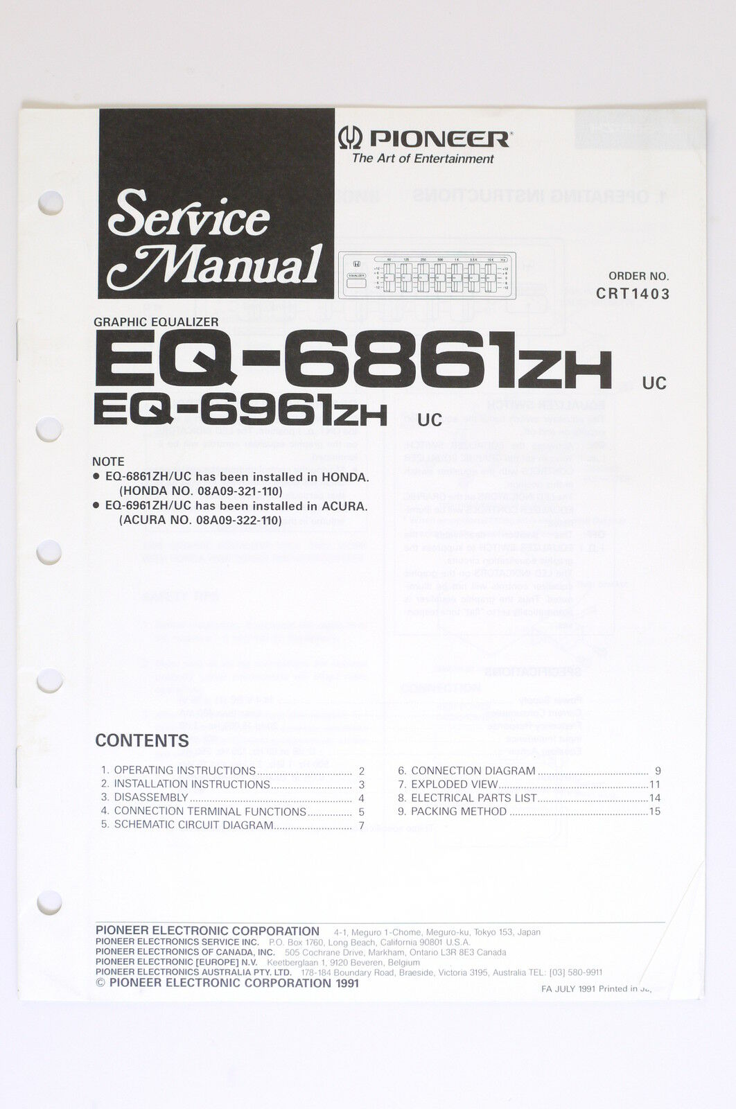 Pioneer Eq 6861 Zh 6961 Original Service Manual Guide Wiring Stereo Equalizer Diagram 1 Of 1only Available