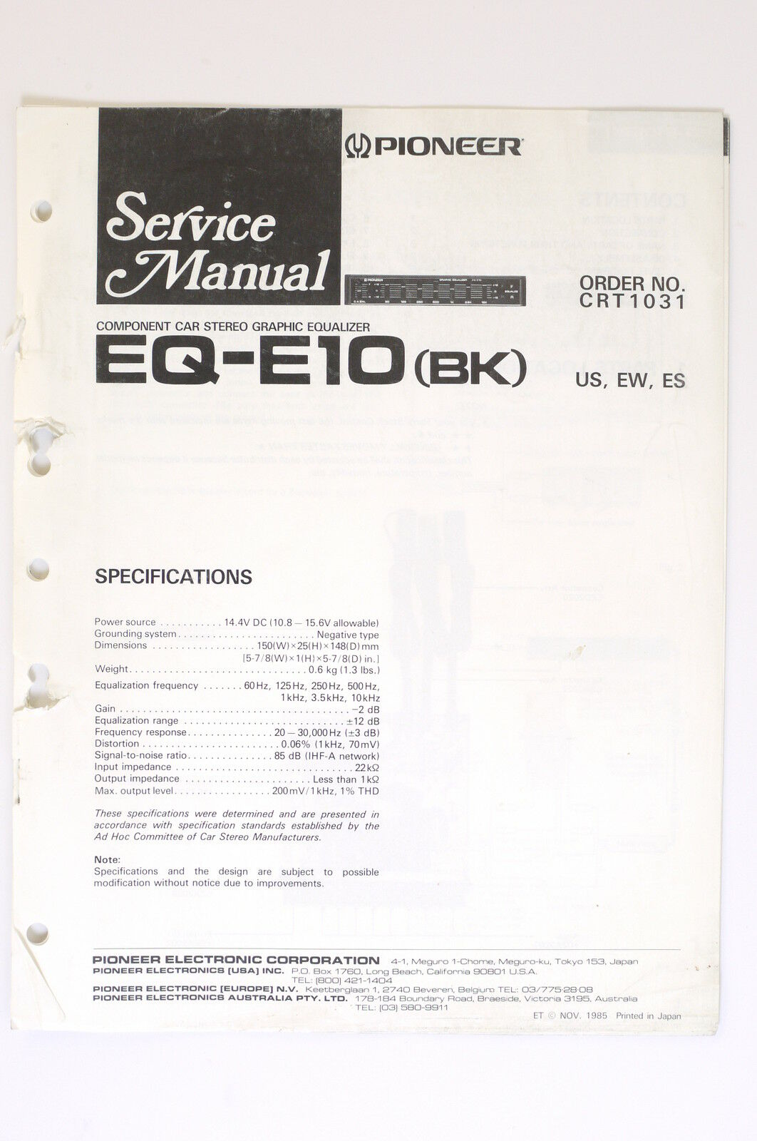 Pioneer Eq E10 Bk Original Service Manual Guide Wiring Diagram Car 1 Of 1only Available