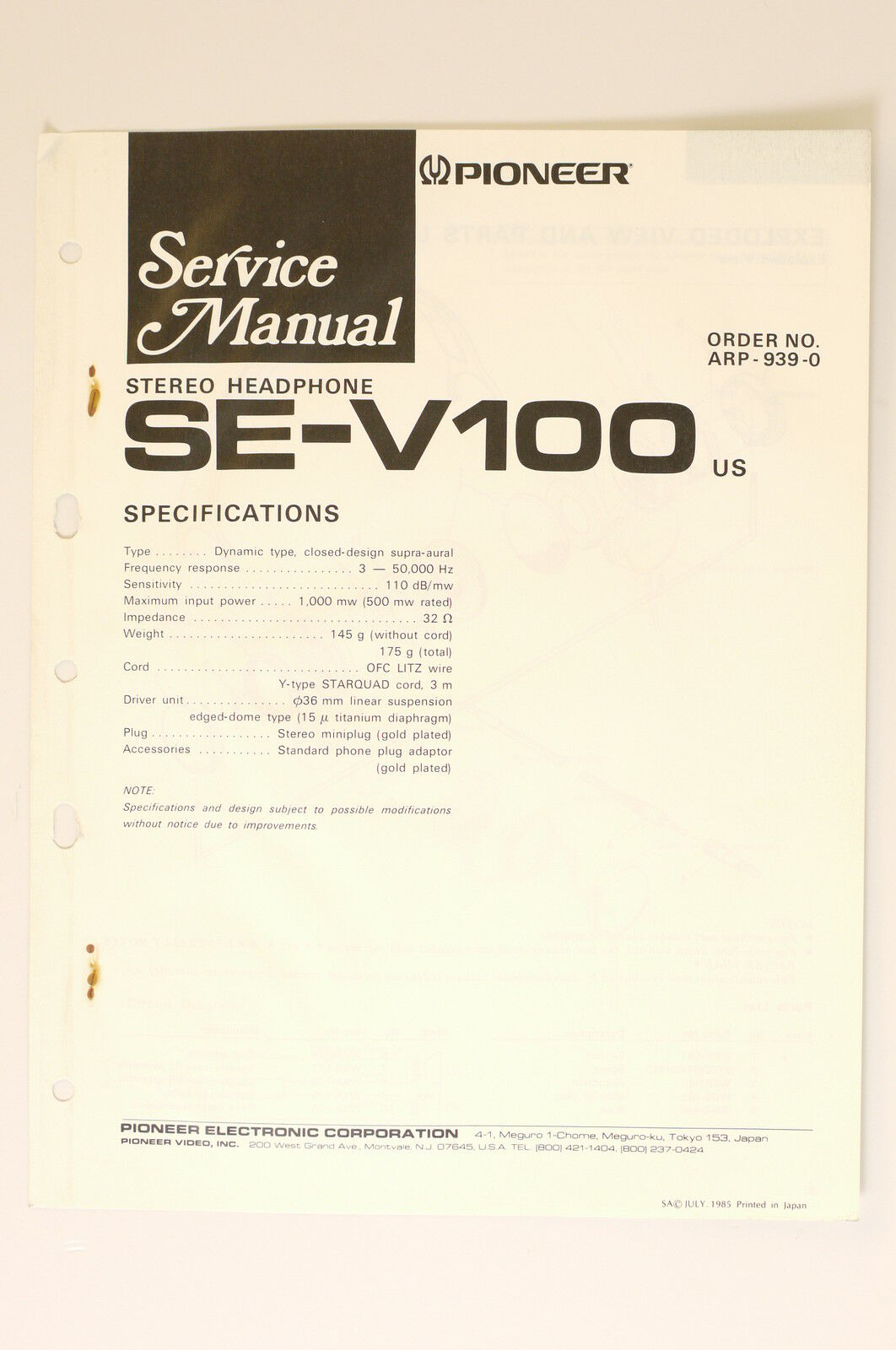 Pioneer Se V100 Stereo Headphones Original Service Manual Wiring Trx70 Diagram 1 Of 1only Available