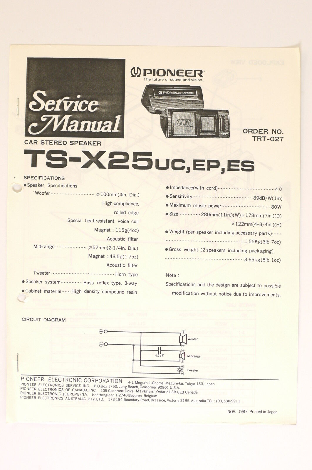 Pioneer Ts X25 Car Stereo Speaker Original Service Manual Wiring Audio System Basics Diagram O66 1 Of 1only 2 Available See More