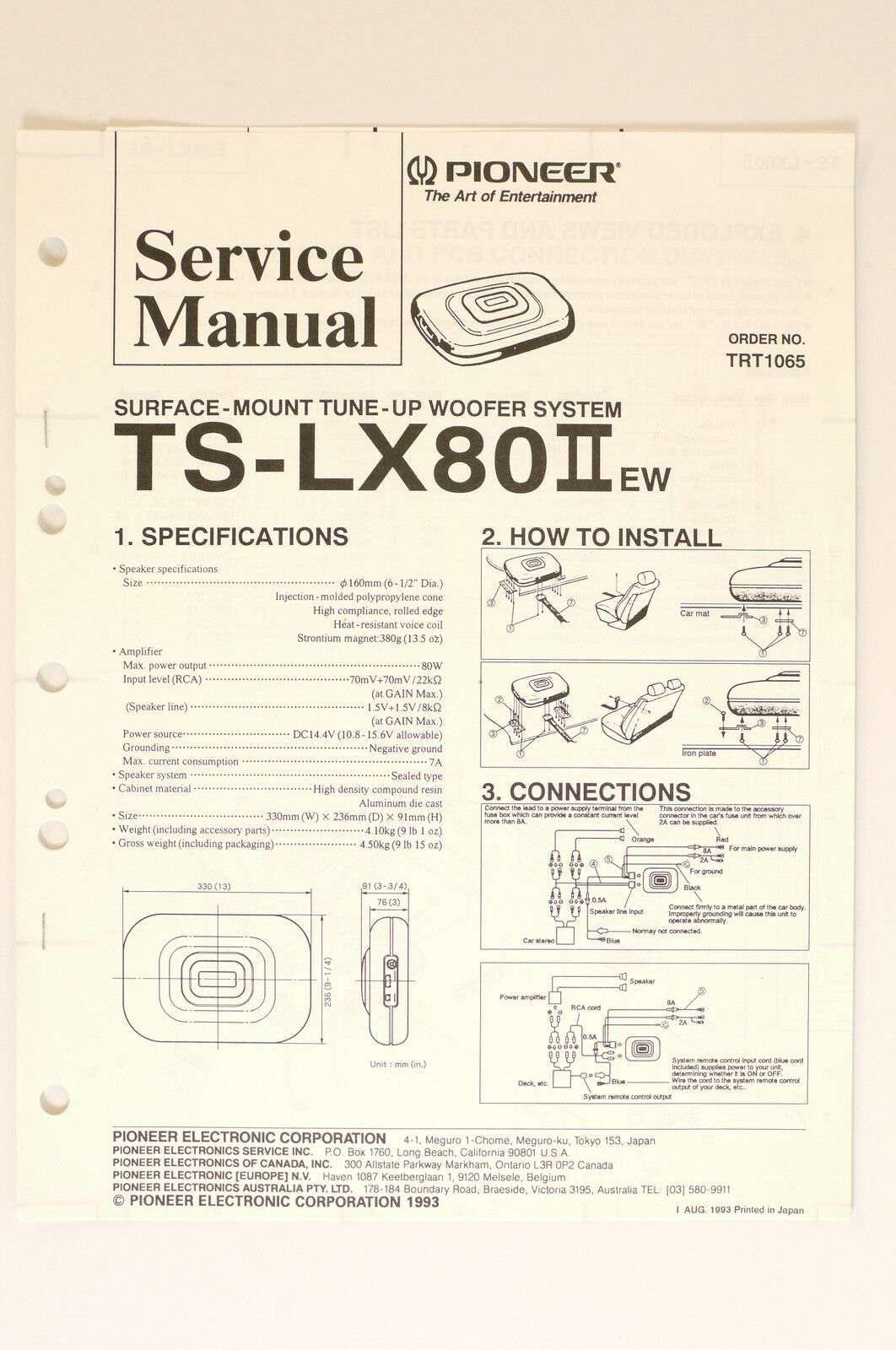 Pioneer Ts Lx80 Ii Ew Original Service Manual Guide Wiring Diagram Trx70 1 Of 1only Available