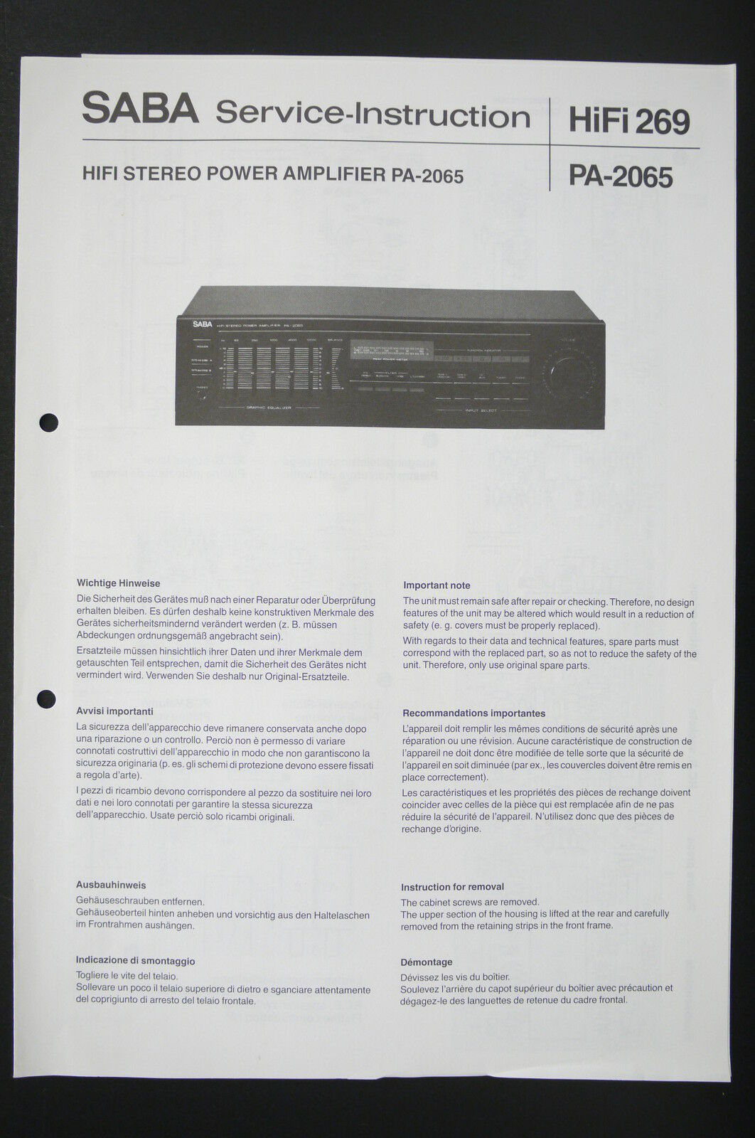 Pa Amp Wiring Diagram Saba Stereo Power Amplifier 2065 Service Instruction 1 Of 1only Available