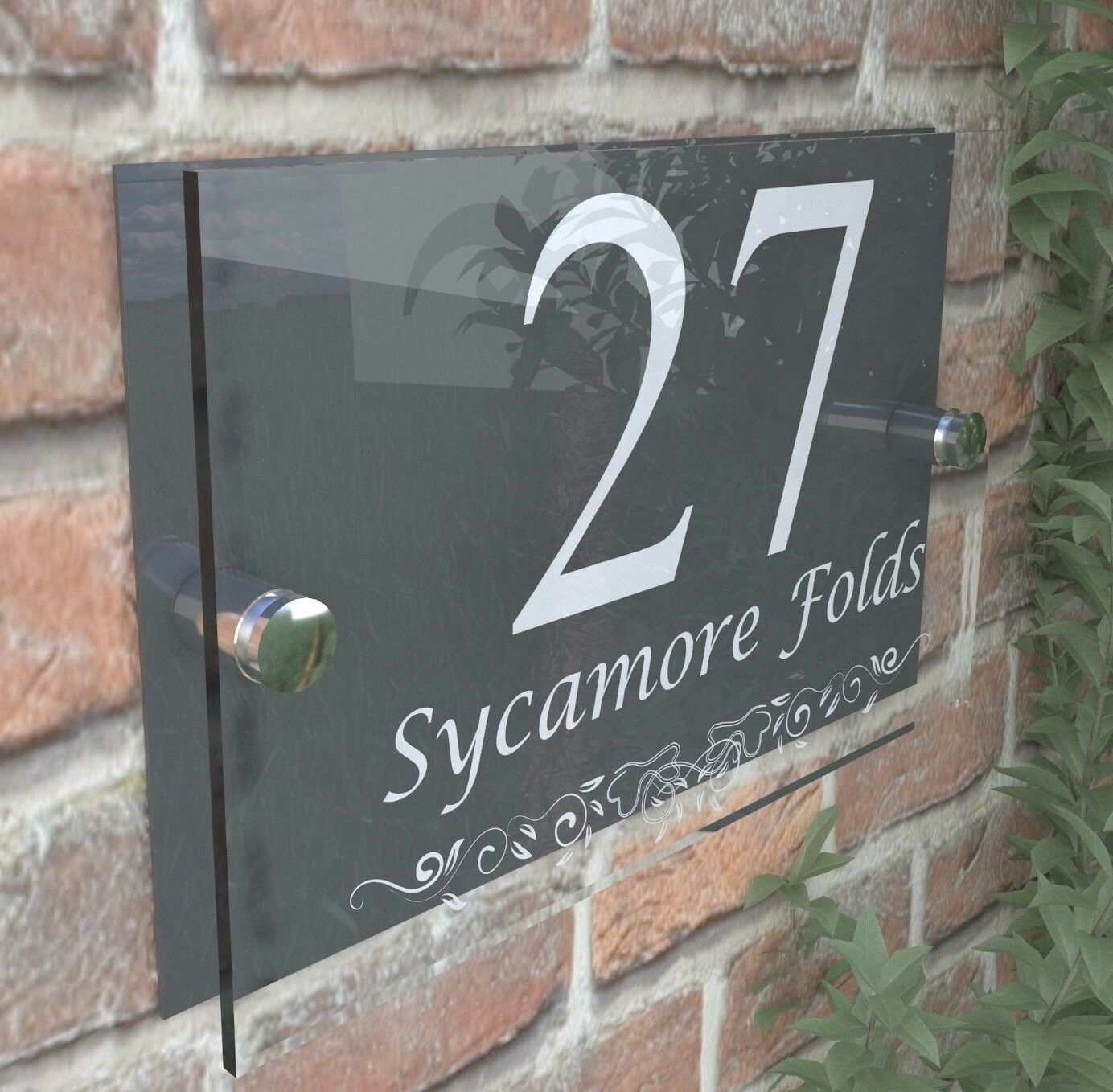 Anthracite classic house sign door number street address for Classic house number plaque