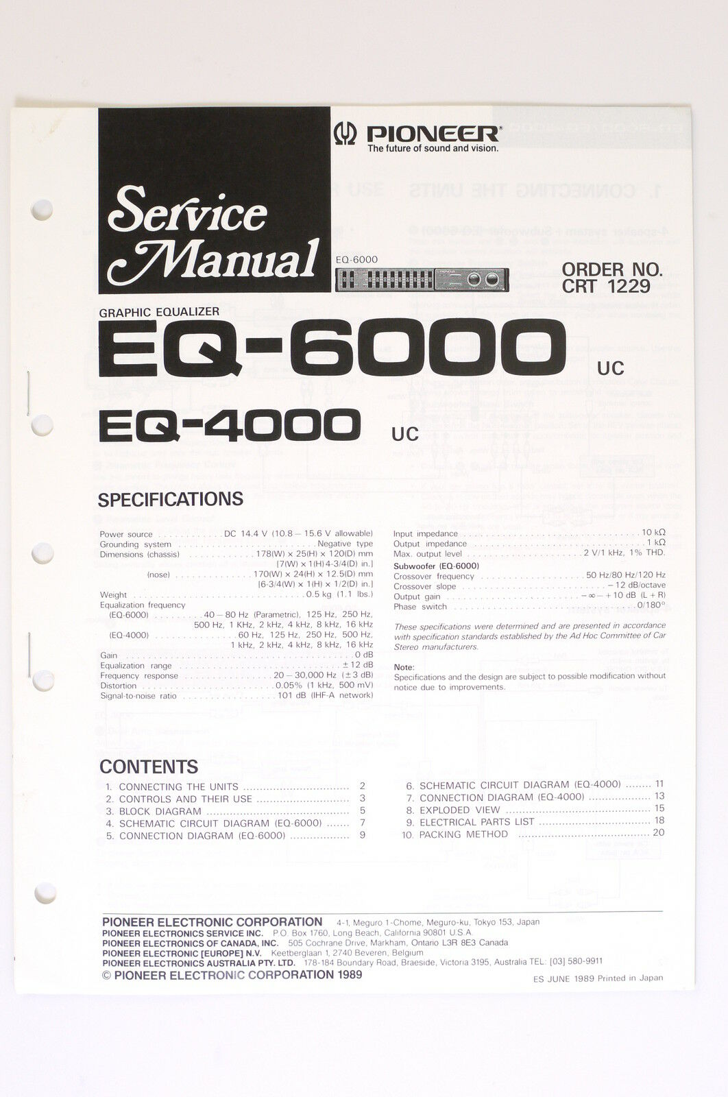 Pioneer Eq 6000 4000 Original Service Manual Guide Wiring Trx70 Diagram 1 Of 1only Available