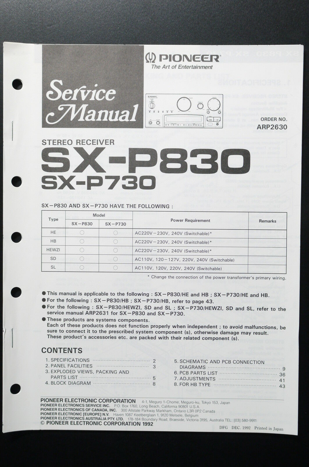 Pioneer Sx P830 P730 Original Service Manual Guide Wiring Eq 6500 Diagram 1 Of 1only Available See More